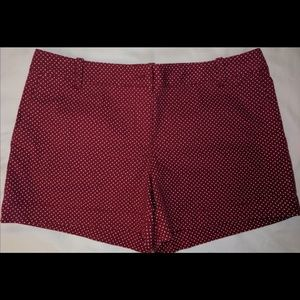Ann Taylor Loft Red Polka Dot Kaki Shorts